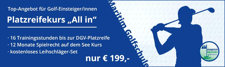 Banner Platzreifekurs All In Für 199,- €